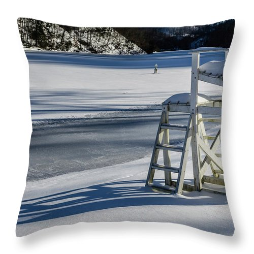 Landscape Throw Pillow featuring the photograph Lifeguard Stand by Jim Love