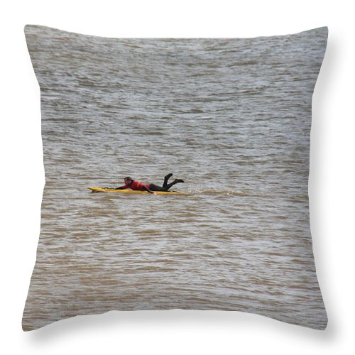 Lifeguard Training At Sea In Skegness Throw Pillow featuring the photograph Lifeguard Training by Gillian Lovett