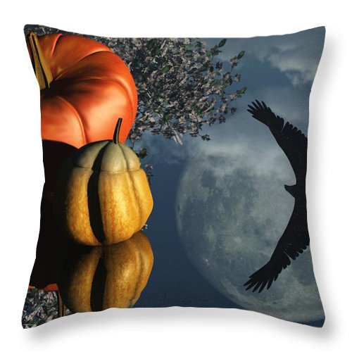 Harvest Moon Throw Pillow featuring the digital art Life's Reflections by Richard Rizzo
