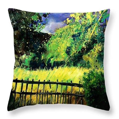 Spring Throw Pillow featuring the painting Light Before The Storm by Pol Ledent