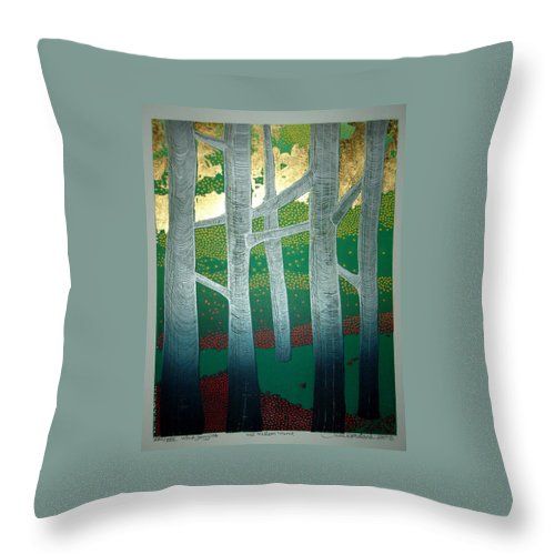 Landscape Throw Pillow featuring the mixed media Light Between The Trees by Jarle Rosseland