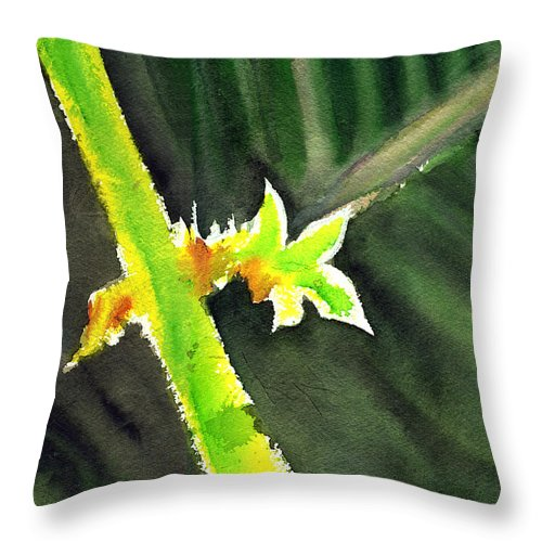 Water Color Throw Pillow featuring the painting Light Branch by Anil Nene
