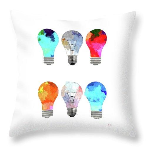Light Bulbs Throw Pillow featuring the mixed media Light Bulbs by Daniel Janda