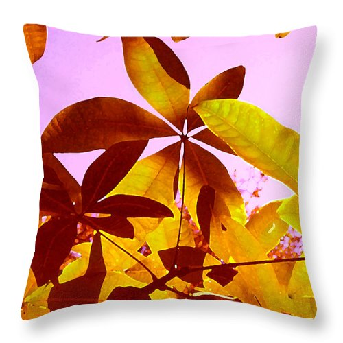 Garden Throw Pillow featuring the painting Light Coming Through Tree Leaves 1 by Amy Vangsgard