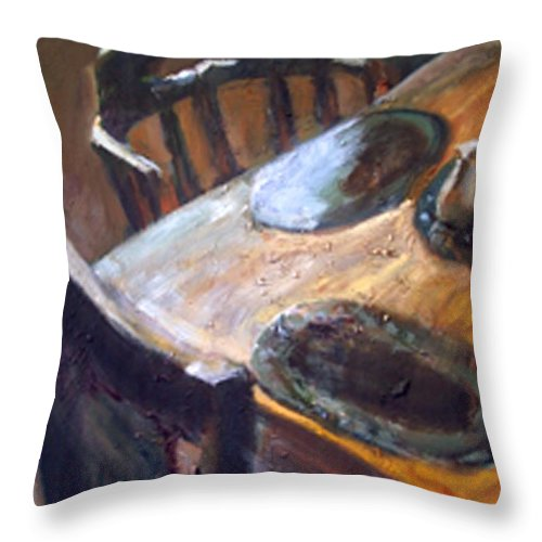 Dornberg Throw Pillow featuring the painting Light From The Window by Bob Dornberg