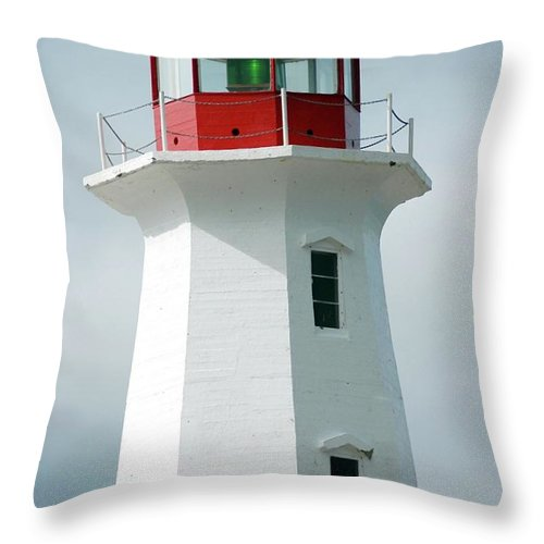 Lighthouse Throw Pillow featuring the photograph Light House Peggy's Cove by Kathleen Struckle
