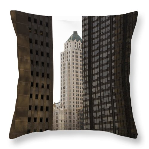 Chicago City Wind Windy Jungle Urban Metro Building Tall High Windows Skyscraper Sky Throw Pillow featuring the photograph Light In The End by Andrei Shliakhau