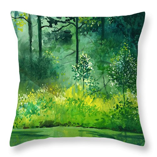 Water Throw Pillow featuring the painting Light N Greens by Anil Nene