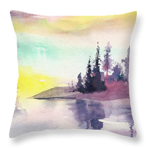 River Throw Pillow featuring the painting Light N River by Anil Nene