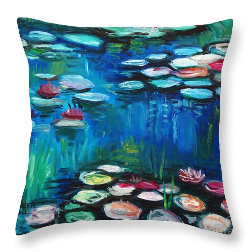 Water Lillies Throw Pillow featuring the painting Light Of The Lillies by Elizabeth Robinette Tyndall