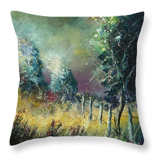 Landscape Throw Pillow featuring the painting Light On Trees by Pol Ledent