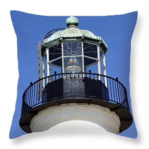 Lighthouse Throw Pillow featuring the photograph Light Sentry by Mary Haber