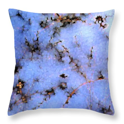 Abstract Throw Pillow featuring the digital art Light Snow in the Woods by Dave Martsolf