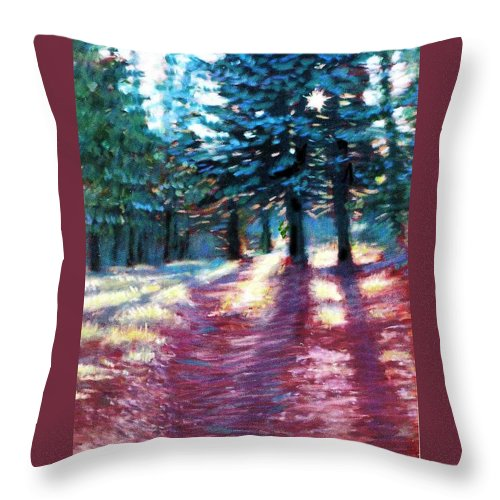 Tall Pine Trees Throw Pillow featuring the painting Light Through The Pines by Julie Mayser