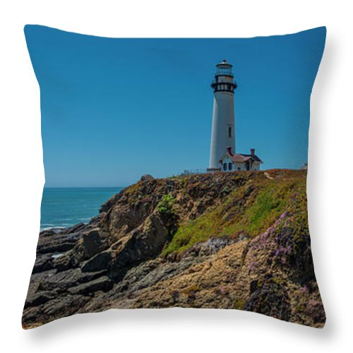 Light House Throw Pillow featuring the photograph Light Tower Panoramic by Moshe Levis