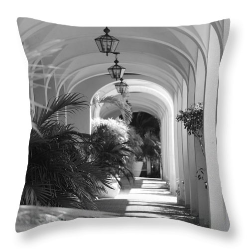 Architecture Throw Pillow featuring the photograph Lighted Arches by Rob Hans