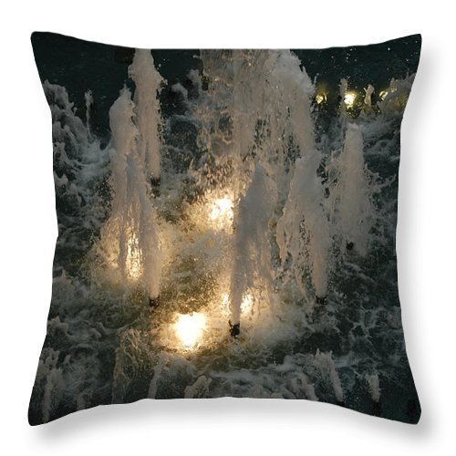 Lights Throw Pillow featuring the photograph Lighted Fountain by Rob Hans