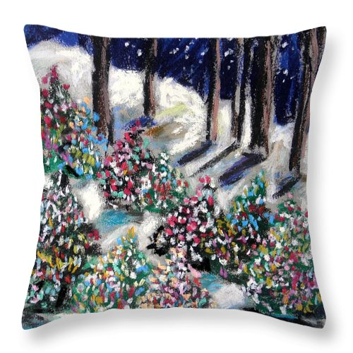 Christmas. Blue Sky Throw Pillow featuring the painting Lighted Path by John Williams
