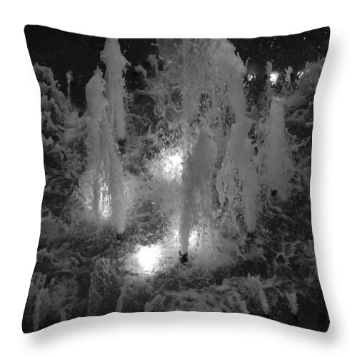Fountian Throw Pillow featuring the photograph Lighted Star Fountian by Rob Hans
