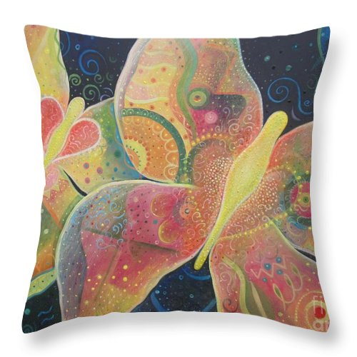 Butterfly Throw Pillow featuring the painting Lighthearted by Helena Tiainen
