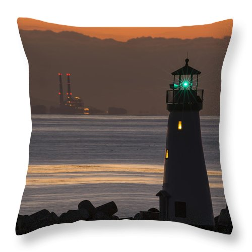 Dawn Throw Pillow featuring the photograph Lighthouse And Power Plant At Dawn by Bruce Frye