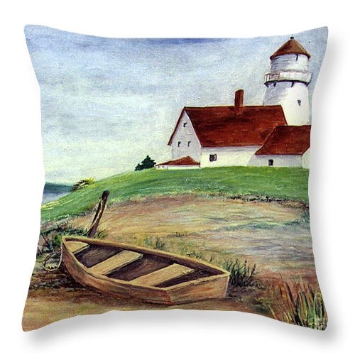 Ebsq Throw Pillow featuring the photograph Lighthouse And Dinghy by Dee Flouton