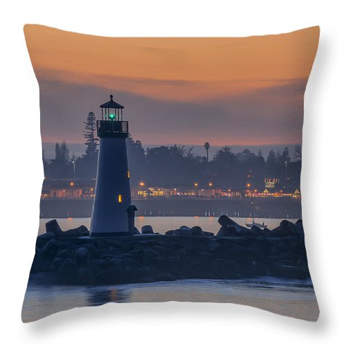 Sunset Throw Pillow featuring the photograph Lighthouse And Wharf At Dusk by Bruce Frye