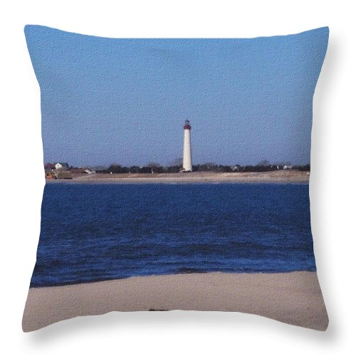 Lighthouse Throw Pillow featuring the photograph Lighthouse At The Point by Pharris Art