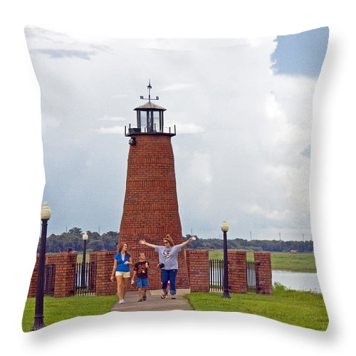 Florida; Kissimmee; Toho; Tohopekaliga; Port; Light; Lighthouse; House; Beacon; Brick; Central; Harb Throw Pillow featuring the photograph Lighthouse At The Port Of Kissimmee On Lake Tohopekaliga In Central Florida by Allan Hughes