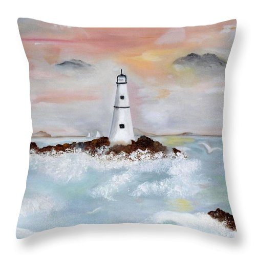 Lighthouse Throw Pillow featuring the painting Lighthouse Cove by Lynne Messeck