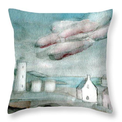 Lighthouse Harbour 1 - Original Fine Art - Watercolour Painting - Lighthouse Painting - Elizabethafox Throw Pillow featuring the painting Lighthouse Harbour 1 by Elizabetha Fox