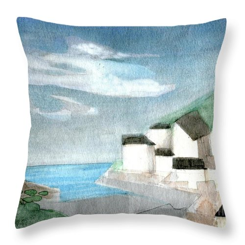 Lighthouse Harbour 2 - Original Fine Art - Watercolour Painting - Lighthouse Painting - Elizabethafox Throw Pillow featuring the painting Lighthouse Harbour 2 by Elizabetha Fox
