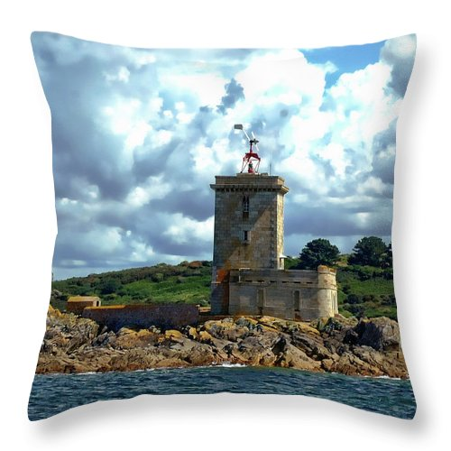 Architecture Throw Pillow featuring the photograph Lighthouse Ile Noire by Anthony Dezenzio