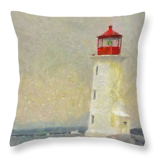Canadian Throw Pillow featuring the painting Lighthouse by Jeffrey Kolker