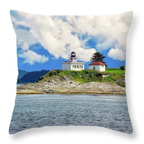 Point Retreat Lighthouse Throw Pillow featuring the photograph Lighthouse near Juneau AK by Kirsten Giving