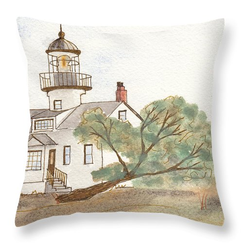 Lighthouse Throw Pillow featuring the painting Lighthouse Sketch by Ken Powers