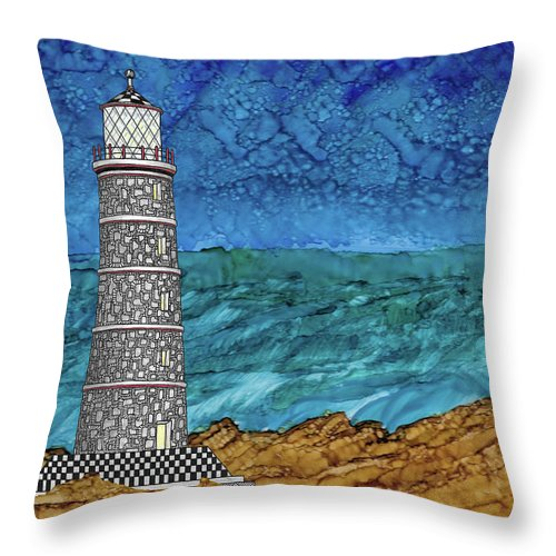 Alcohol Ink Throw Pillow featuring the mixed media Lighthouse by Stacie Dowdy