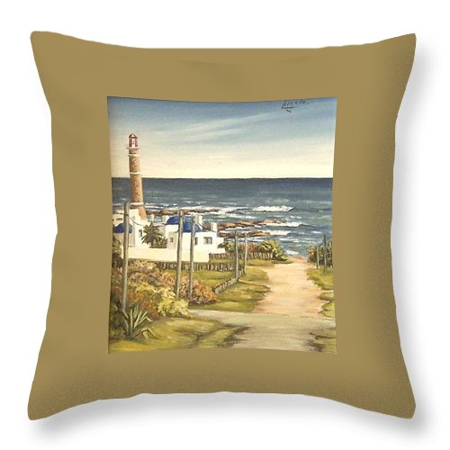 Lighthouse Seascape Sea Water Uruguay Throw Pillow featuring the painting Lighthouse Uruguay by Natalia Tejera