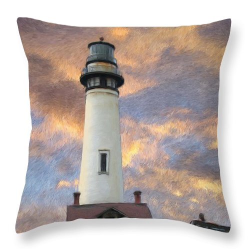 Lighthouse Art Throw Pillow featuring the digital art Lighthouse Visitors by Snake Jagger