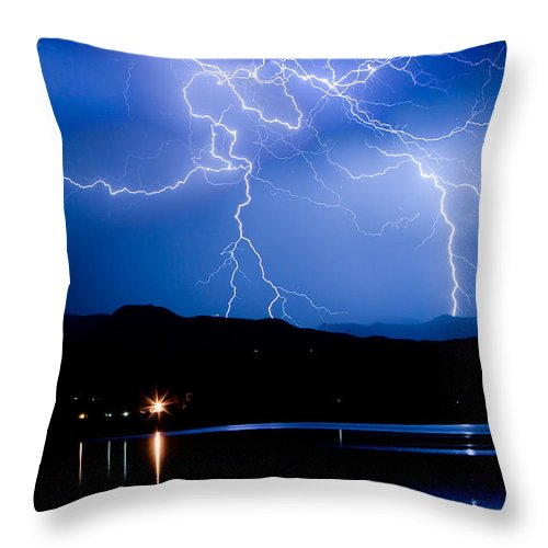 Lightning Throw Pillow featuring the photograph Lightning Blues by James BO Insogna
