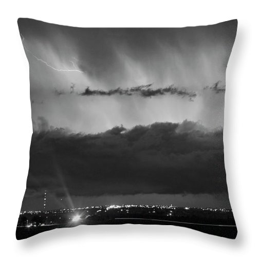 Cloudburst Throw Pillow featuring the photograph Lightning Cloud Burst Black And White by James BO Insogna