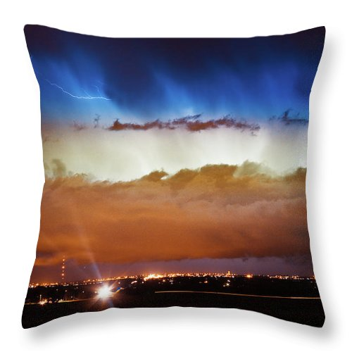 bo Insogna Throw Pillow featuring the photograph Lightning Cloud Burst Boulder County Colorado Im34 by James BO Insogna