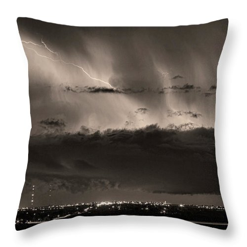 Bouldercounty Throw Pillow featuring the photograph Lightning Cloud Burst Boulder County Colorado Im39 Sepia by James BO Insogna