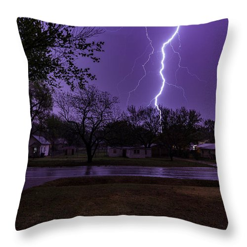 Jay Stockhaus Throw Pillow featuring the photograph Lightning by Jay Stockhaus