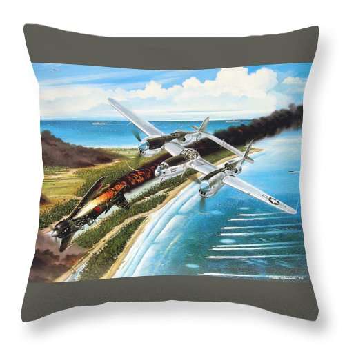 Aviation Throw Pillow featuring the painting Lightning Over Mindoro by Marc Stewart