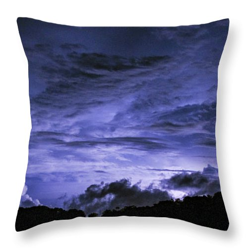 Coral Throw Pillow featuring the photograph Lightning Over Pohnpei by Dan Norton