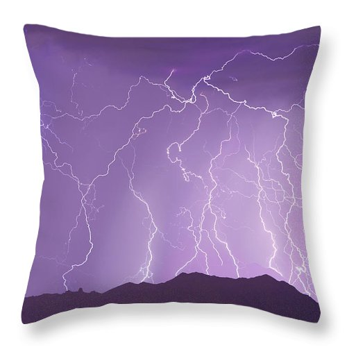 Lightning Throw Pillow featuring the photograph Lightning Over The Mountains by James BO Insogna