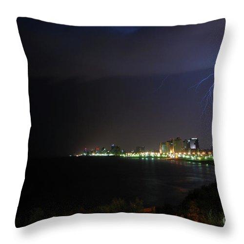 Storms Throw Pillow featuring the photograph Lightning Storm by Ben Kelmer