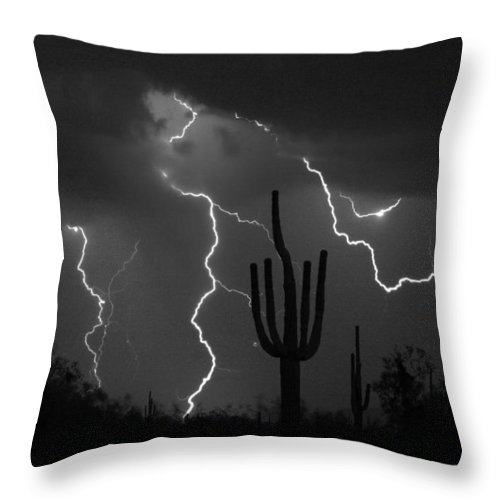 Saguaro Throw Pillow featuring the photograph Lightning Storm Saguaro Fine Art Bw Photography by James BO Insogna