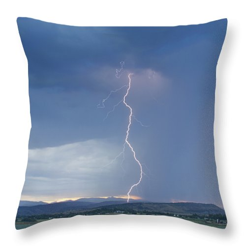 July Throw Pillow featuring the photograph Lightning Striking At Sunset Rocky Mountain Foothills by James BO Insogna